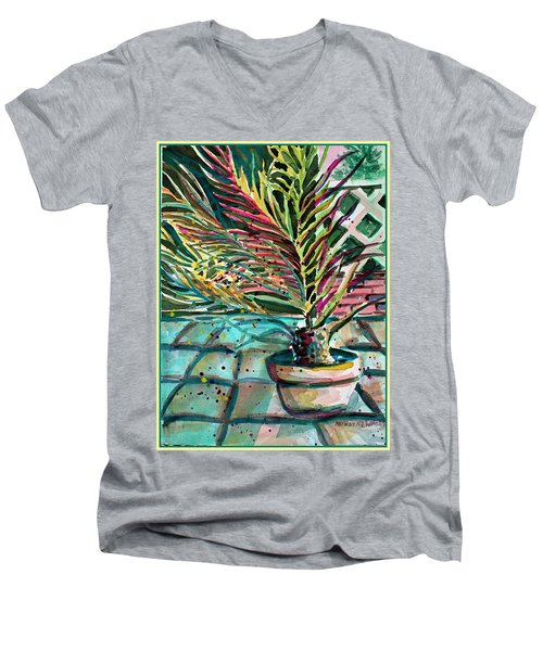 Men's V-Neck T-Shirt featuring the painting Florescent Palm by Mindy Newman