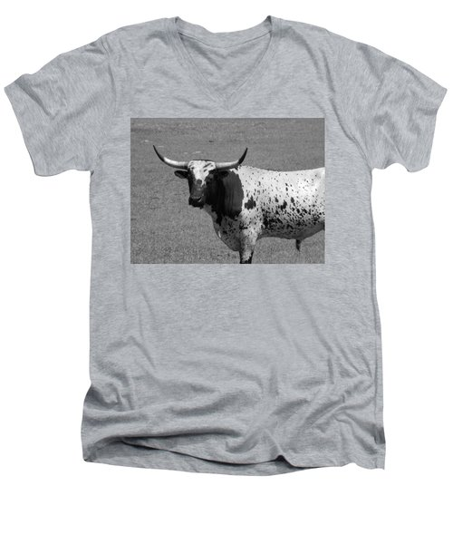 Florida Longhorn Black And White Photo Men's V-Neck T-Shirt
