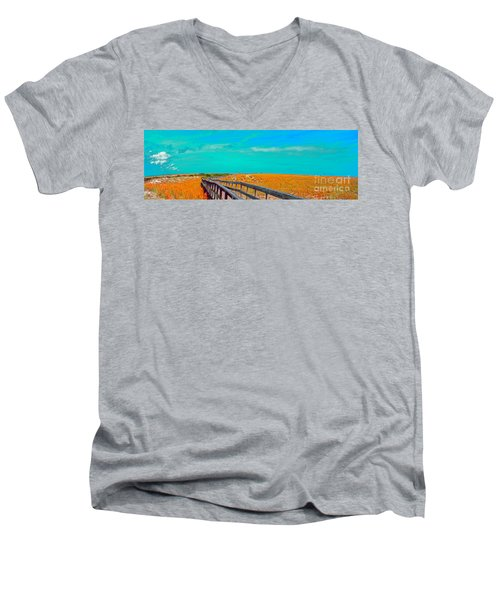 Florida Sand Dunes Atlantic New Smyrna Beach Men's V-Neck T-Shirt