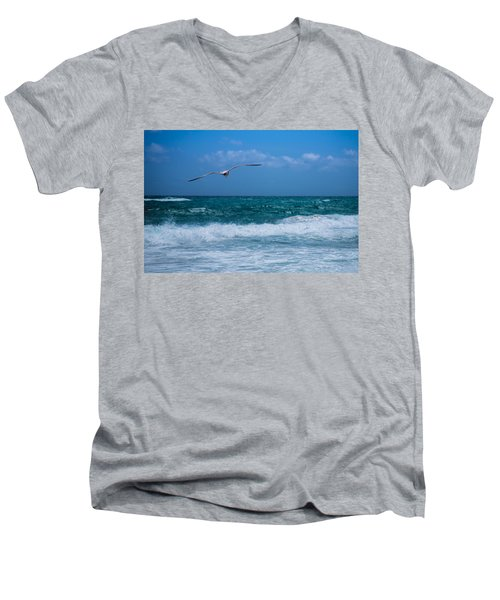 Men's V-Neck T-Shirt featuring the photograph Florida Seagull In Flight by Jason Moynihan