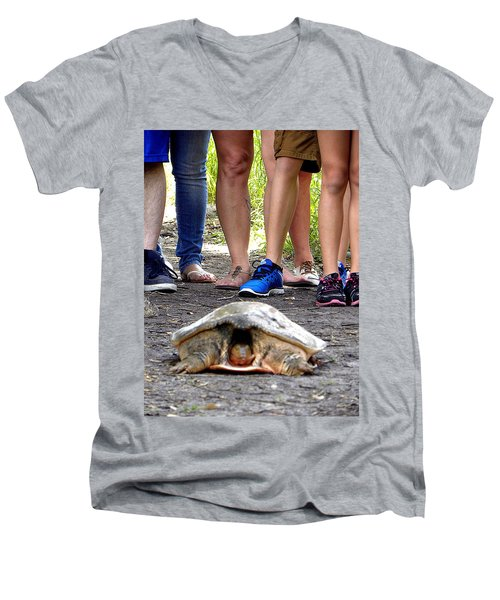 Men's V-Neck T-Shirt featuring the photograph Florida Softshell Turtle 003 by Chris Mercer