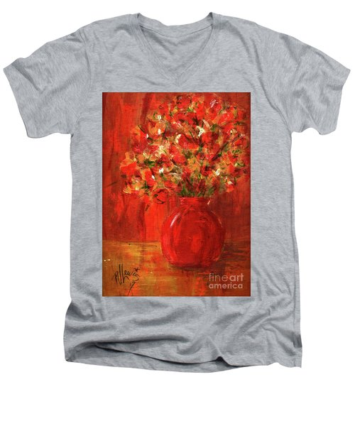 Men's V-Neck T-Shirt featuring the painting Florists Red by P J Lewis