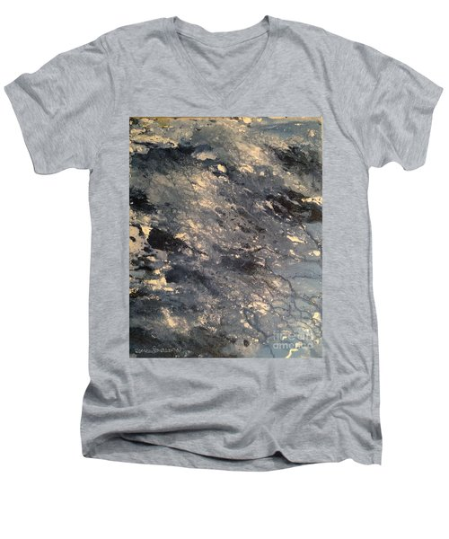 Men's V-Neck T-Shirt featuring the painting Flow by Denise Tomasura