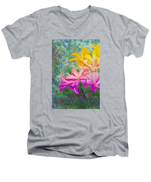 God Made Art In Flowers Men's V-Neck T-Shirt