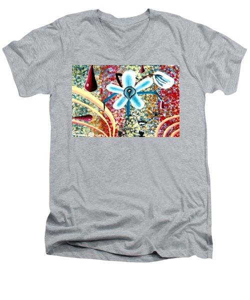 Flower And Ant Men's V-Neck T-Shirt by Luke Galutia