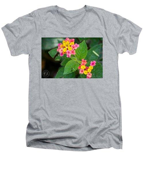 Flower Bloom Men's V-Neck T-Shirt by Shelley Overton