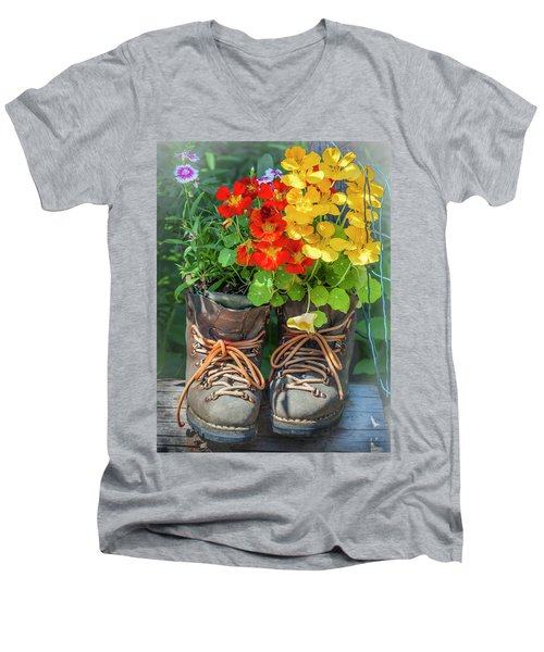 Flower Boots Men's V-Neck T-Shirt