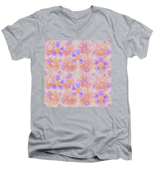 Flower Clown Pattern Men's V-Neck T-Shirt