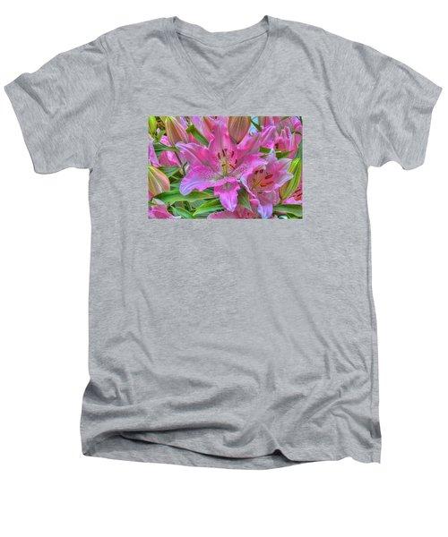 Flower Delight Men's V-Neck T-Shirt by Nadia Sanowar