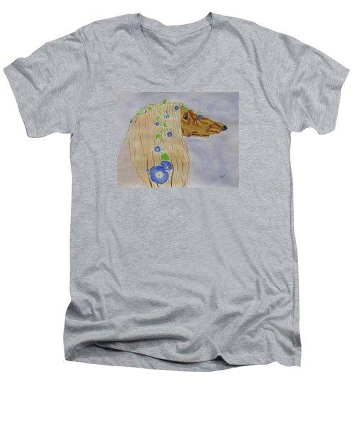 Flower Dog 10 Men's V-Neck T-Shirt