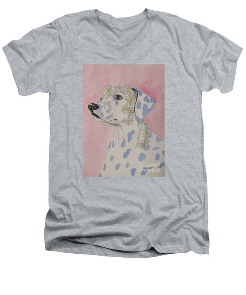 Flower Dog 2 Men's V-Neck T-Shirt by Hilda and Jose Garrancho