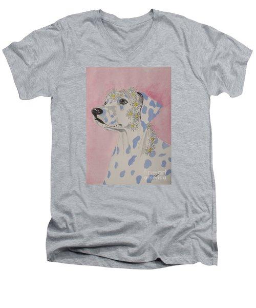 Flower Dog 2 Men's V-Neck T-Shirt