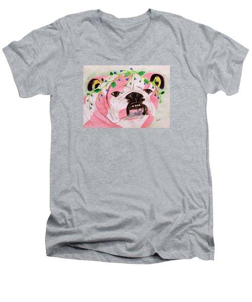 Flower Dog 3 Men's V-Neck T-Shirt