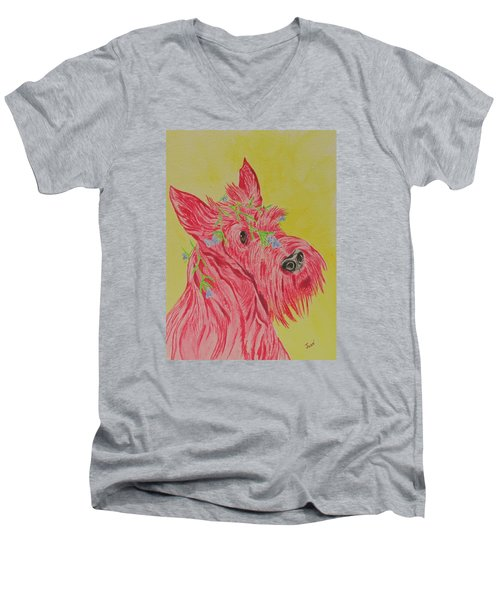 Flower Dog 6 Men's V-Neck T-Shirt