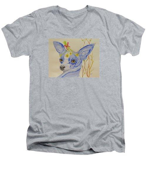 Flower Dog 7 Men's V-Neck T-Shirt