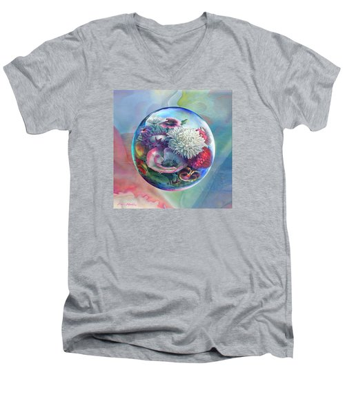 Flower Drop Blues Men's V-Neck T-Shirt