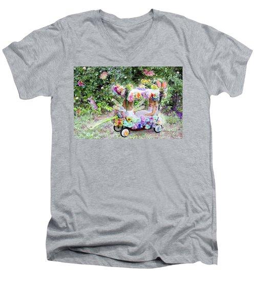 Flower Fairies In A Flower Mobile Men's V-Neck T-Shirt by Lise Winne