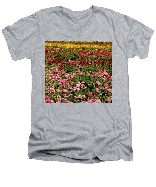 Flower Fields Men's V-Neck T-Shirt by Christopher Woods