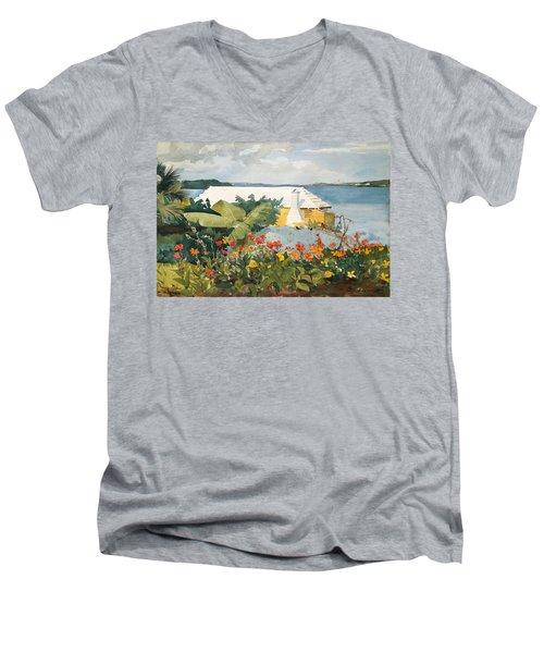 Flower Garden And Bungalow Men's V-Neck T-Shirt