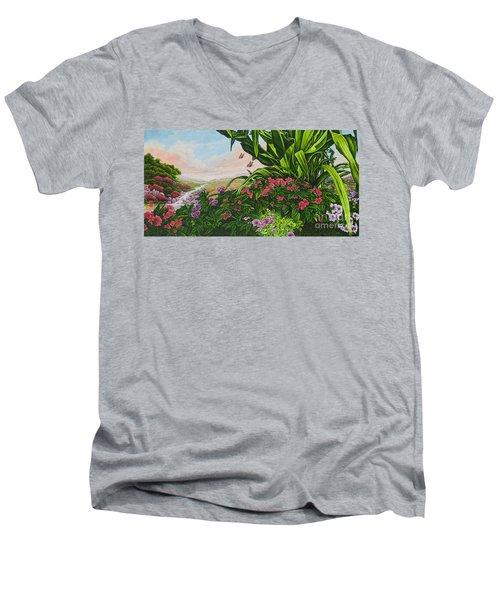 Flower Garden Vii Men's V-Neck T-Shirt by Michael Frank