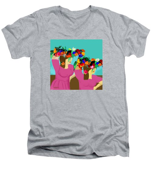 Flower Girls In The Market Men's V-Neck T-Shirt