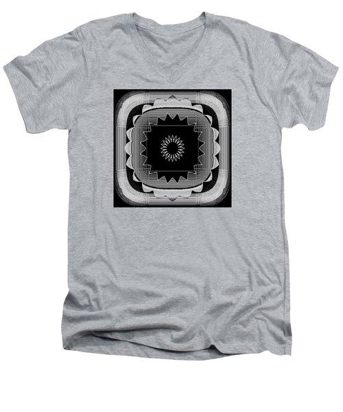 Flower In Black And White Men's V-Neck T-Shirt by Carolyn Repka