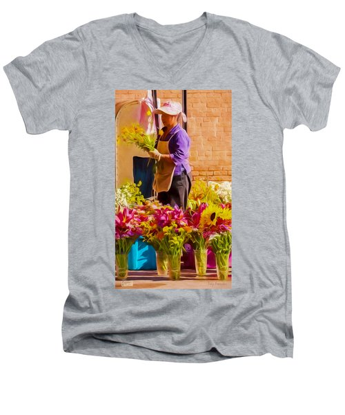 Men's V-Neck T-Shirt featuring the photograph Flower Lady by Trey Foerster