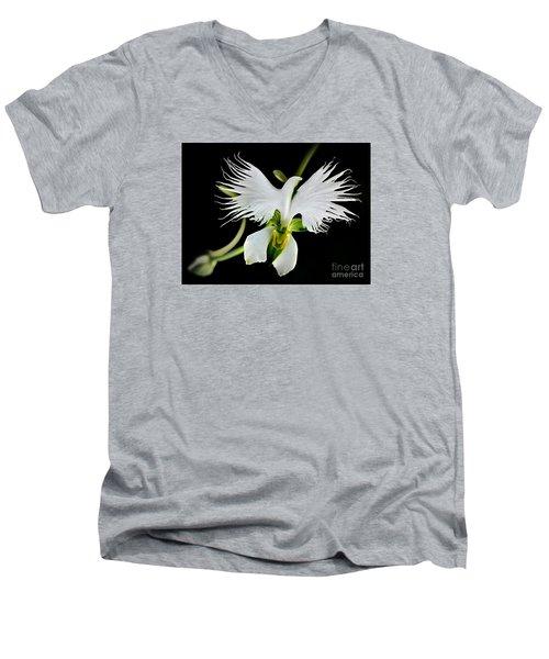Flower Oddities - Flying White Bird Flower Men's V-Neck T-Shirt