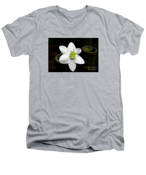 Men's V-Neck T-Shirt featuring the photograph Flower On Bamboo by Lisa L Silva