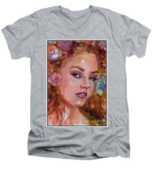 Flower Princess Men's V-Neck T-Shirt by Judith Levins