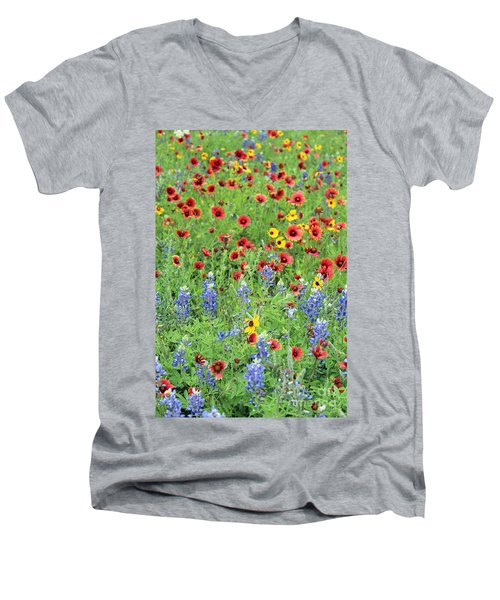 Flower Quilt Men's V-Neck T-Shirt by Joe Jake Pratt