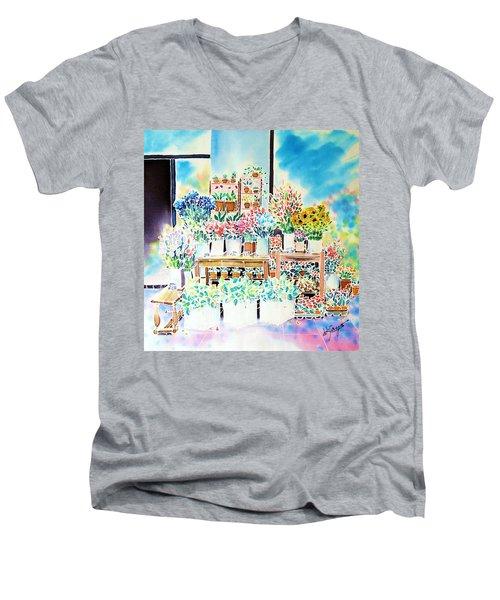 Flower Shop In Paris Men's V-Neck T-Shirt