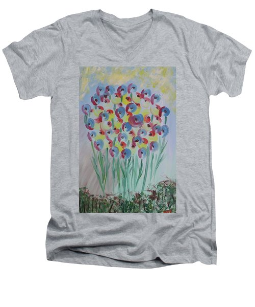Flower Twists Men's V-Neck T-Shirt by Barbara Yearty
