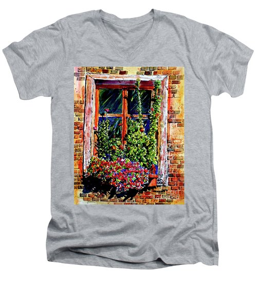 Men's V-Neck T-Shirt featuring the painting Flower Window by Terry Banderas