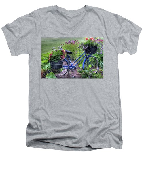 Flowered Bicycle Men's V-Neck T-Shirt