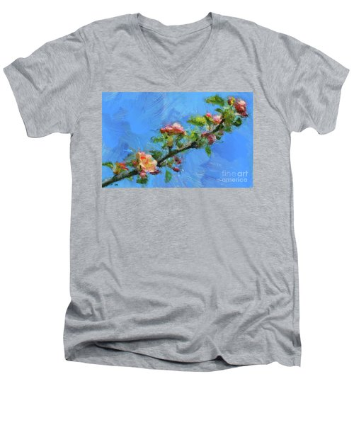 Flowering Apple Branch Men's V-Neck T-Shirt