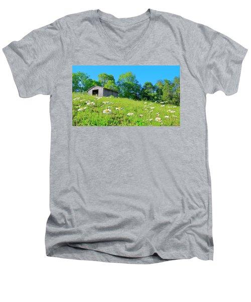 Flowering Hillside Meadow - View 2 Men's V-Neck T-Shirt