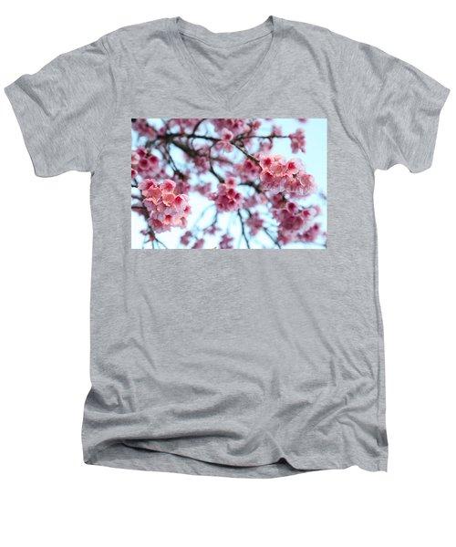 flowering of the almond tree, Jerusalem Men's V-Neck T-Shirt by Yoel Koskas