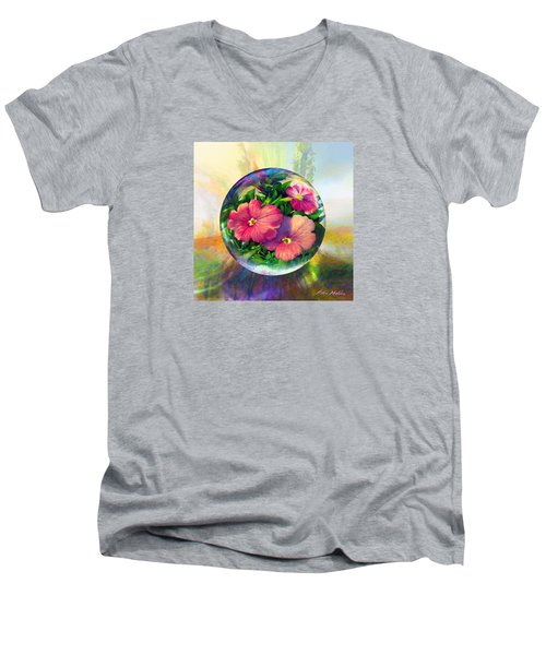 Men's V-Neck T-Shirt featuring the painting Flowering Panopticon by Robin Moline