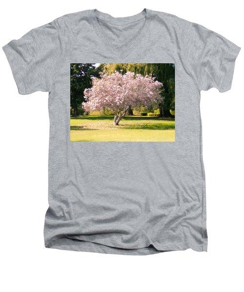 Flowering Tree Men's V-Neck T-Shirt by Mark Barclay