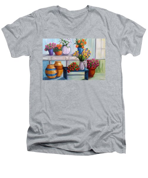 Flowerpots Men's V-Neck T-Shirt