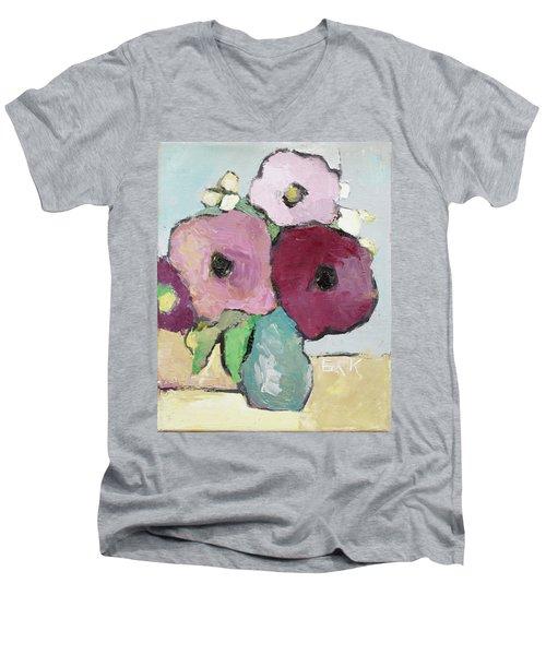 Flowers 1601 Men's V-Neck T-Shirt by Becky Kim