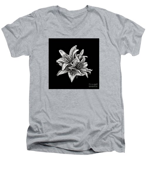 Flowers 8449 Men's V-Neck T-Shirt by Walt Foegelle