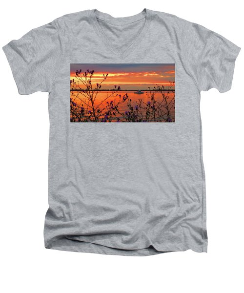 Flowers Along The Shore At Tibbetts Point  Men's V-Neck T-Shirt
