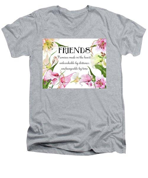Flowers And Birds Men's V-Neck T-Shirt