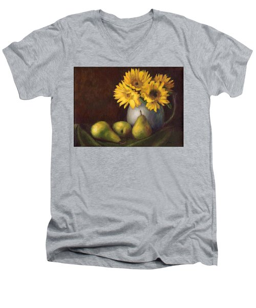 Men's V-Neck T-Shirt featuring the painting Flowers And Fruit by Janet King