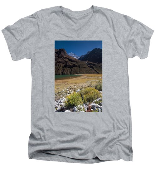 Flowers And Mountain Lake In Santa Cruz Valley Men's V-Neck T-Shirt by Aivar Mikko