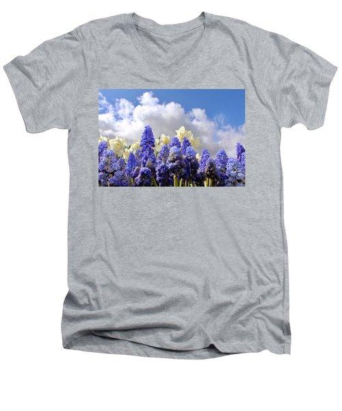Flowers And Sky Men's V-Neck T-Shirt