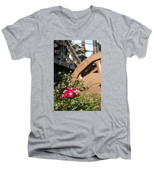 Men's V-Neck T-Shirt featuring the photograph Flowers And Steel by Michael Dorn