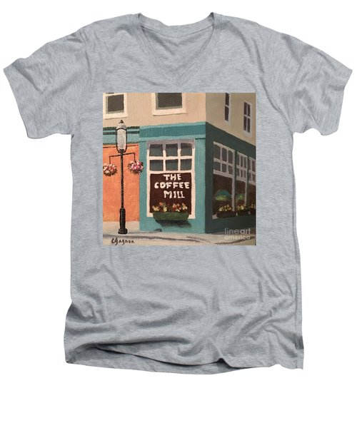 Flowers At Coffee Mill Mini Men's V-Neck T-Shirt